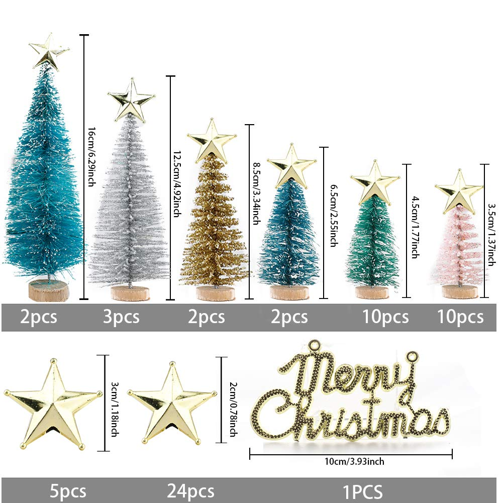 Nuxn 32pcs Multicolor Artificial Mini Christmas Tree Set Miniture Pine Trees Sisal Trees Snow Frost Ornaments with Wooden Bases Plastic Bottle Brush Trees Tabletop Trees for Crafts DIY