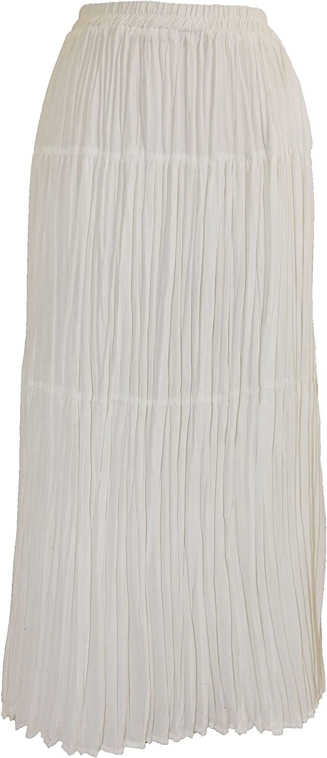 Everyday Whites Women's Petite Crinkled Three-Tierd Broomstick Skirt