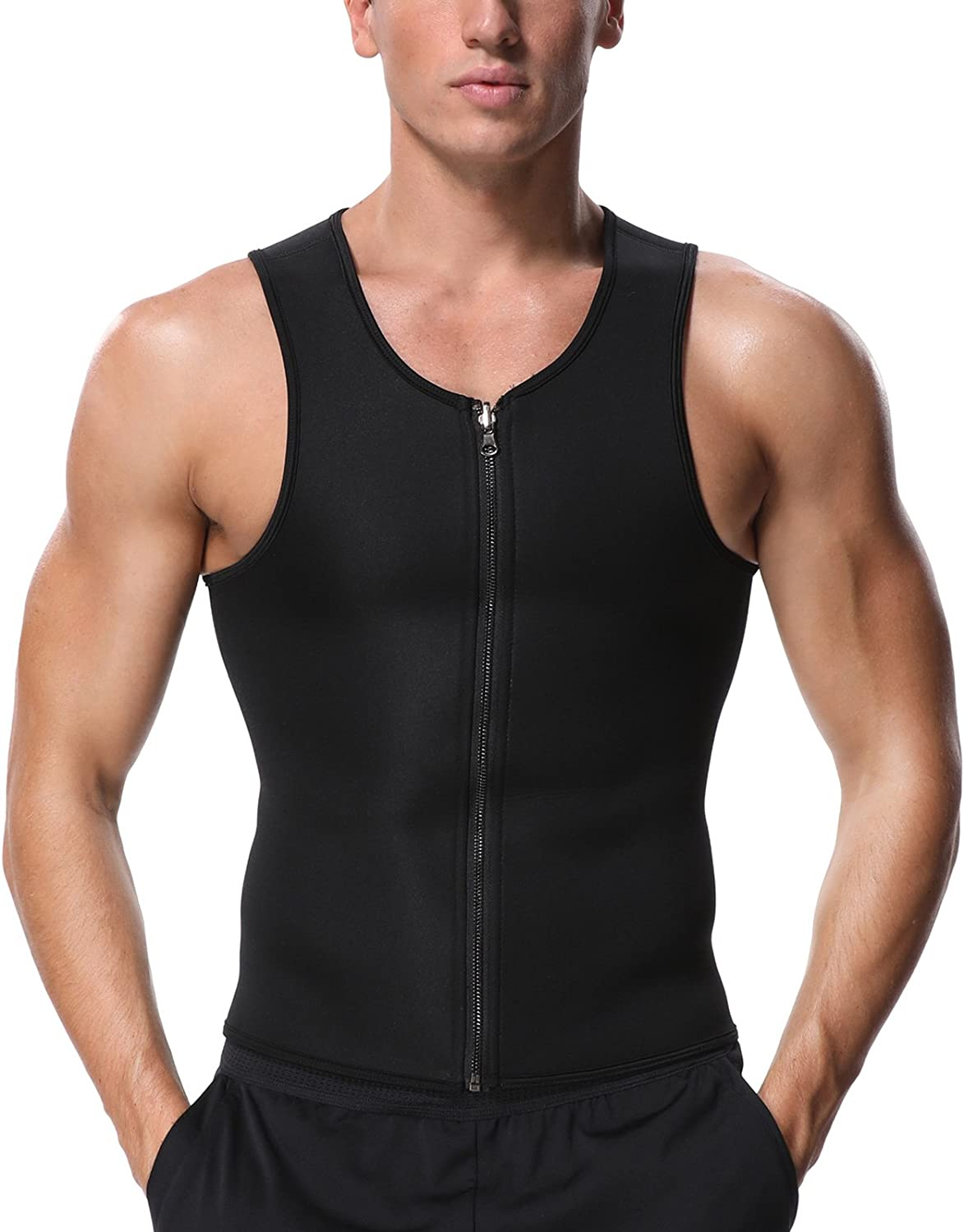 Muscle Building NHEIMA Mens Slimming Neoprene Hot Sweat Vest Sauna Suit Body Shaper for Weight Loss Tummy Mens Workout Tank Shirt Waist Shapers for Lost Weight Cardio Endurance and Core Strength