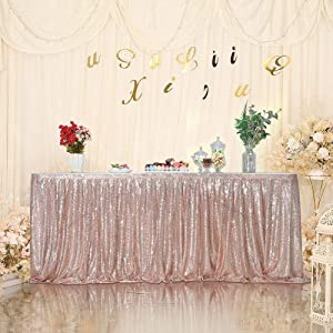 SquarePie Sequin Table Skirt for Rectangle Square Round Table Party(Size: L 9ft,H 30in; Color: Rose Gold)