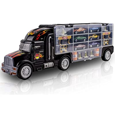 WolVol Transport Car Carrier Truck Toy for Boys and Girls (includes 6 cars and 28 slots): Toys & Games