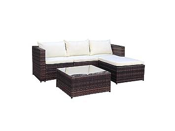 df1180051c51 Evre Home & Living Poly Rattan Outdoor Garden Furniture Set Brown Black  Malaga Cushion Patio Lounge