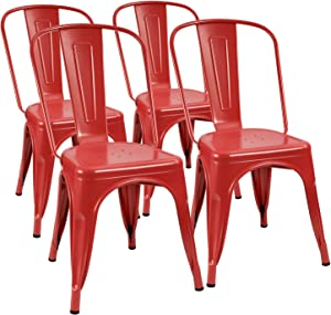 Furmax Metal Dining Chair Indoor-Outdoor Use Stackable Classic Trattoria Chair Chic Dining Bistro Cafe Side Metal Chairs Set of 4 (Cerise)