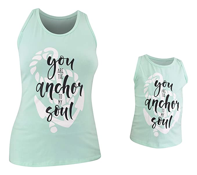 d5295d3cbd3ed Amazon.com  Unique Baby Girls Mommy   Me Racerback Anchor Tank Tops   Clothing