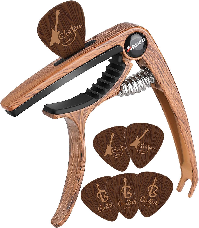 Anpro Cejilla de Guitarra 6 púas de Guitarra para Guitarra acústica y eléctrica, Ukelele, mandolina y Banjo, Grano de Madera