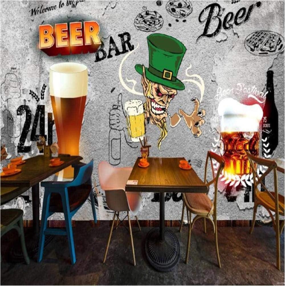 Papel Tapiz Papel Pintado 3D Personalizado Mural Retro Nostálgico Noche Cerveza Comedor Fondo Decoración De La Pared Pintura Mural Wallpape-280X200Cm