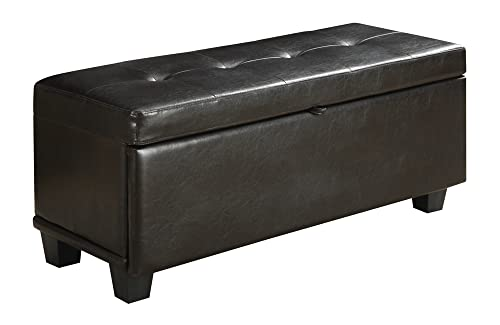 Convenience Concepts Designs4Comfort Front Drop Down Hinged Ottoman, Espresso
