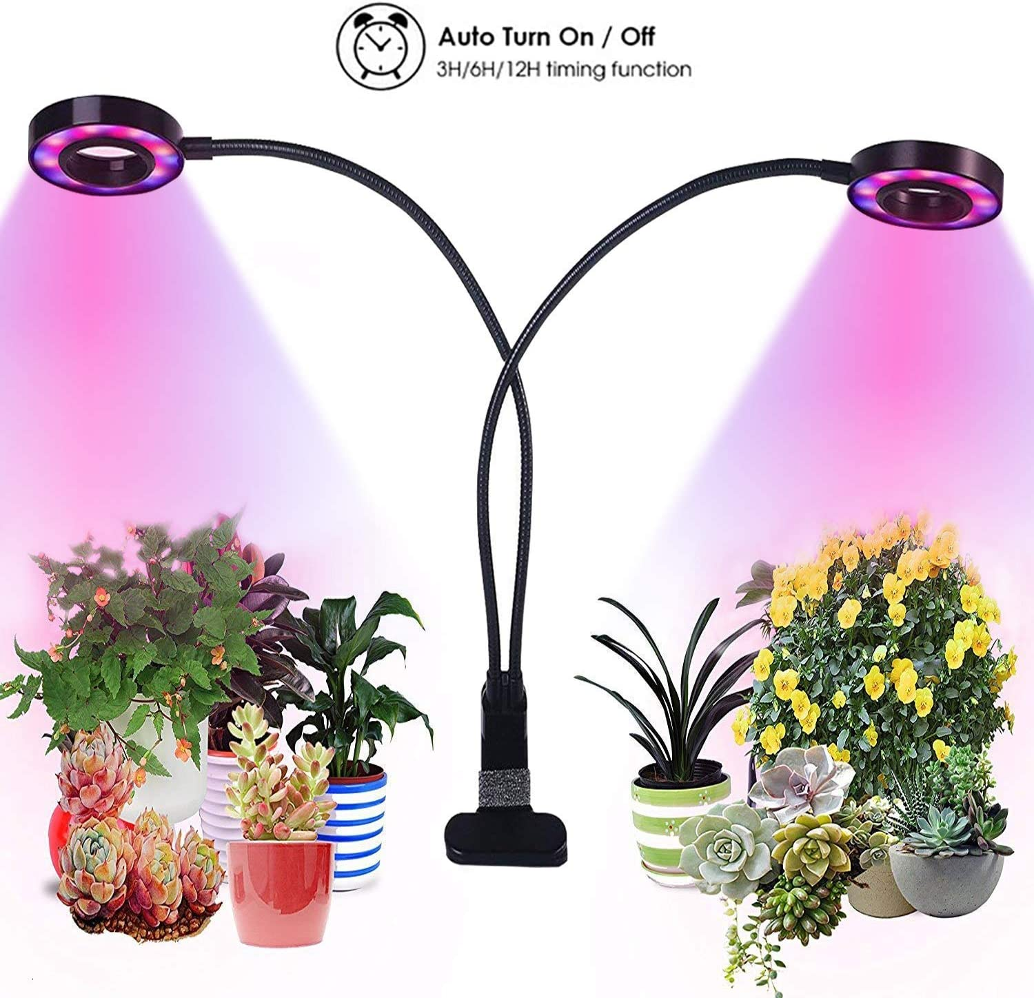 Grow Lights for Indoor Plants,Growstar 20W Dual Head Plant Lamp with 3 6 12H Timer Red Blue White Spectrum 360 Degree Flexible Gooseneck 3 Switch Modes Gardening Office Reading 2019 Latest Upgrade