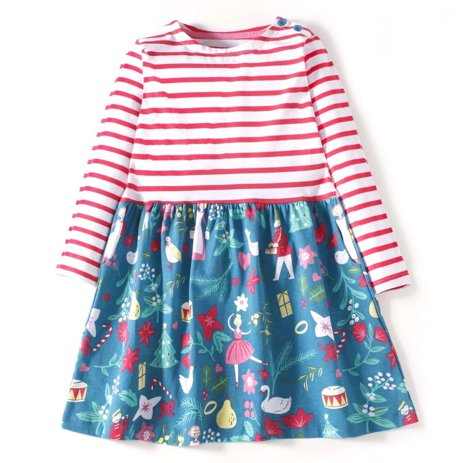 Mrsrui Little Girls Cotton Dress Short Sleeves Casual Summer Striped Printed Shirt Pink by Mrsrui