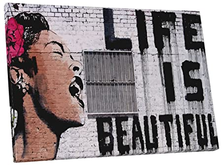 Pingo World 0622Q9ORUWG Life is Beautiful Gallery Wrapped Canvas Print 45 X 30. Bonus Banksy Wall Decal, 45 x 30