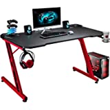 Greesum Gaming Desk, 44 Inch Home Office Computer Table, Z Shaped Gamer Workstation with Carbon Fiber Surface Cup Holder & He