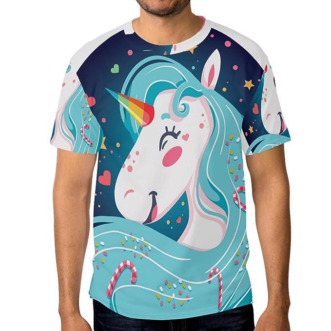 COOSUN Antecedentes s menâ feliz brillante unicornio camisetas de manga corta camisas: Amazon.es: Ropa y accesorios