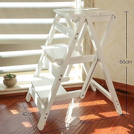BOBE Shop- Silla de Escalera de Madera Maciza casa Plegable Multifuncional escaleras Silla Taburete de Doble propósito Escalada Interior 3 Pasos pequeña Escalera (Color : C, Tamaño : 66 * 56 * 42cm): Amazon.es: Hogar