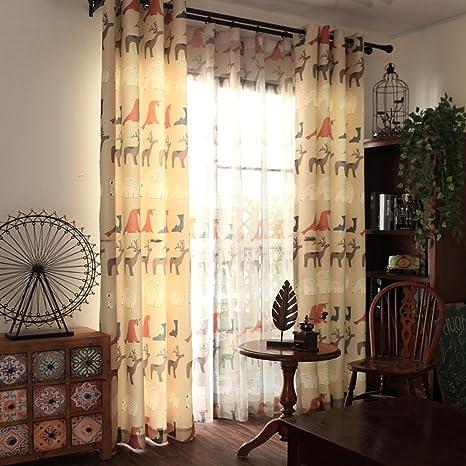 clichtg algodón y cortina de lino bordado cortinas schwebenden cortinas dibujos animados Cortinas Adecuado para salón dormitorio habitación de los Niños 175 x 140 cm ( Toalla cortinas ): Amazon.es: Bebé