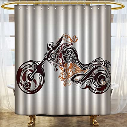 NALAHOMEQQ Manly Decor Shower CurtaIn Set By Motorbike Shape With Decorative Curvy Lines Floral Ornamental Design