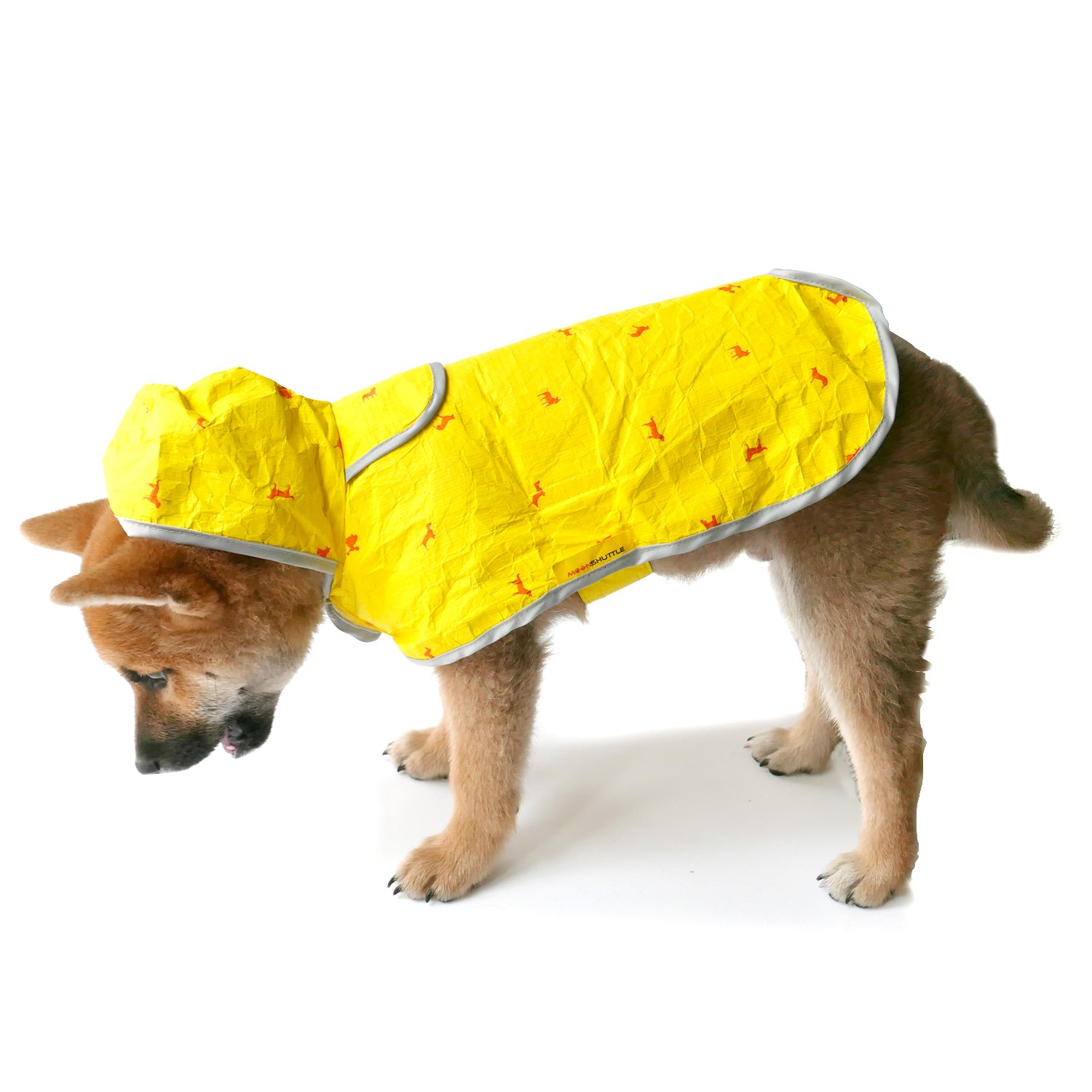 Moonshuttle Breathable Featherlight Dog Rain Coat Poncho made with DuPont Technology - Yellow (XL)