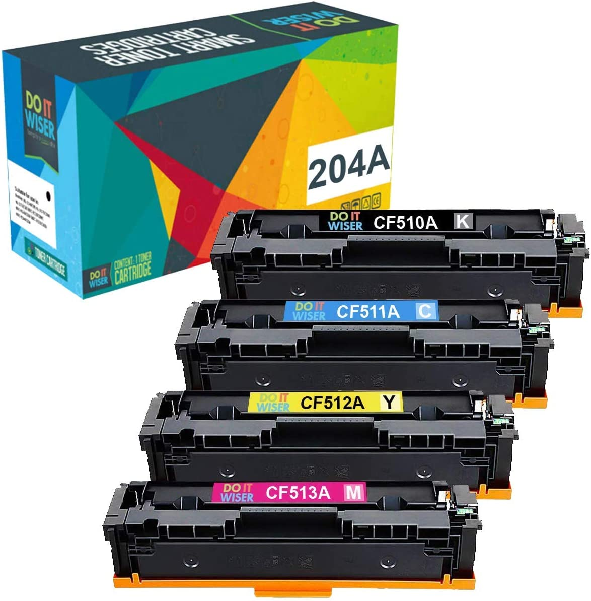 Do it Wiser Compatible Toner Cartridge Replacement for HP 204A CF510A CF511A CF512A CF513A Pro MFP M180n M180nw M181 M181fw M154a M154nw Color Laserjet Pro Printer (4-Pack)