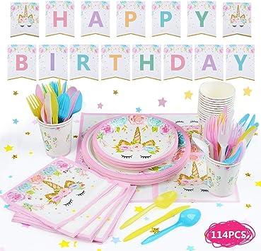 BUYGOO 114 Piezas Vajilla Desechable Cumpleaños Unicornio 16 Juego ...