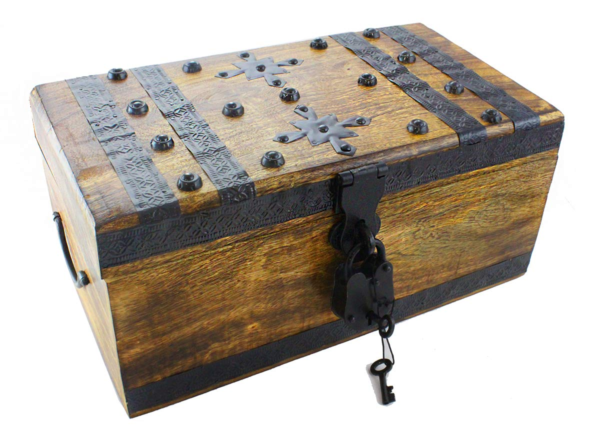 WPB Wood Treasure Chest Storage Trunk 14''x8''x6'' Decorative Box Rustic Wedding Card Antique Style Lock - Key by Well Pack Box