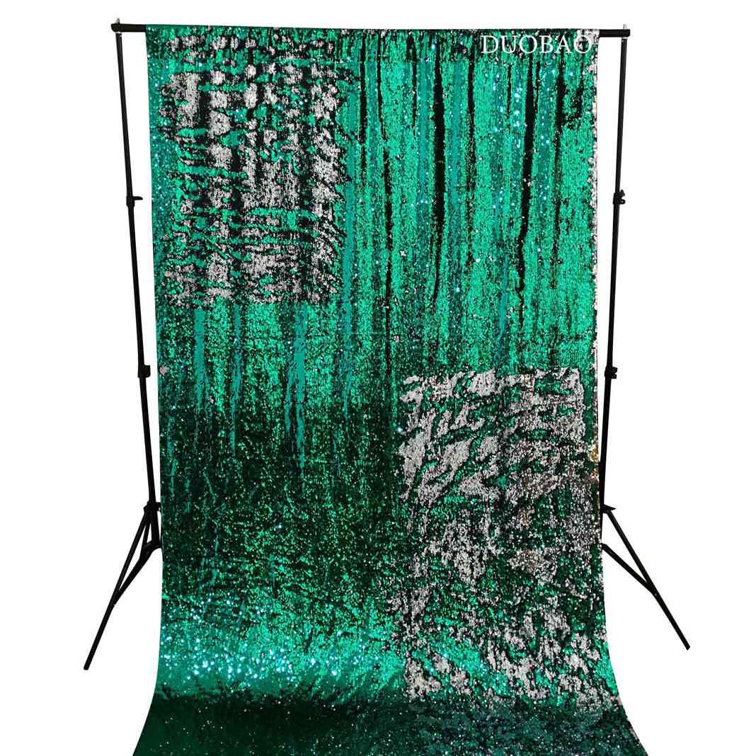 DUOBAO Sequin Backdrop 8Ft Green to Silver Mermaid Sequin Backdrop Fabric 6FTx8FT Two Tone Sequin Curtains by DUOBAO