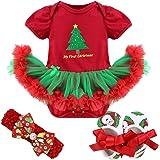 iiniim Baby Girls' Christmas Outfits Tutu Romper with Headband Crib Shoes