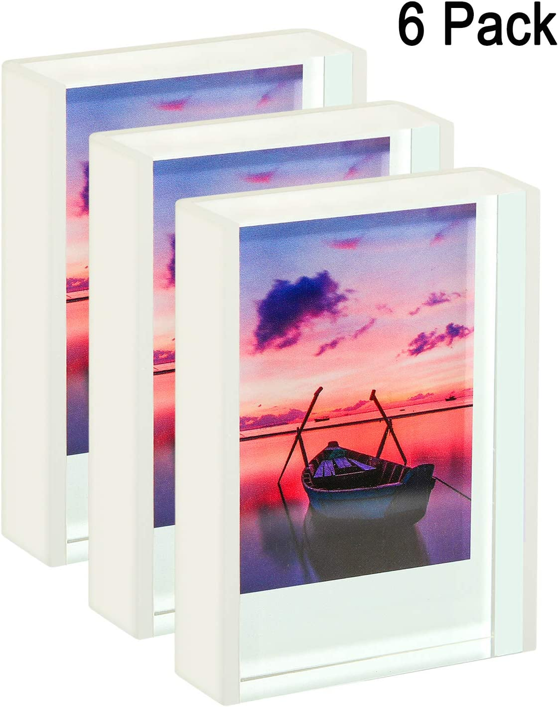 WINKINE Instax Mini Frames 2x3, 6 Pack Polaroid Frames Clear Cute Picture Frames for Tabletop & Desktop, Freestanding Sliding Photo Display for Fujifilm & Polaroid Film