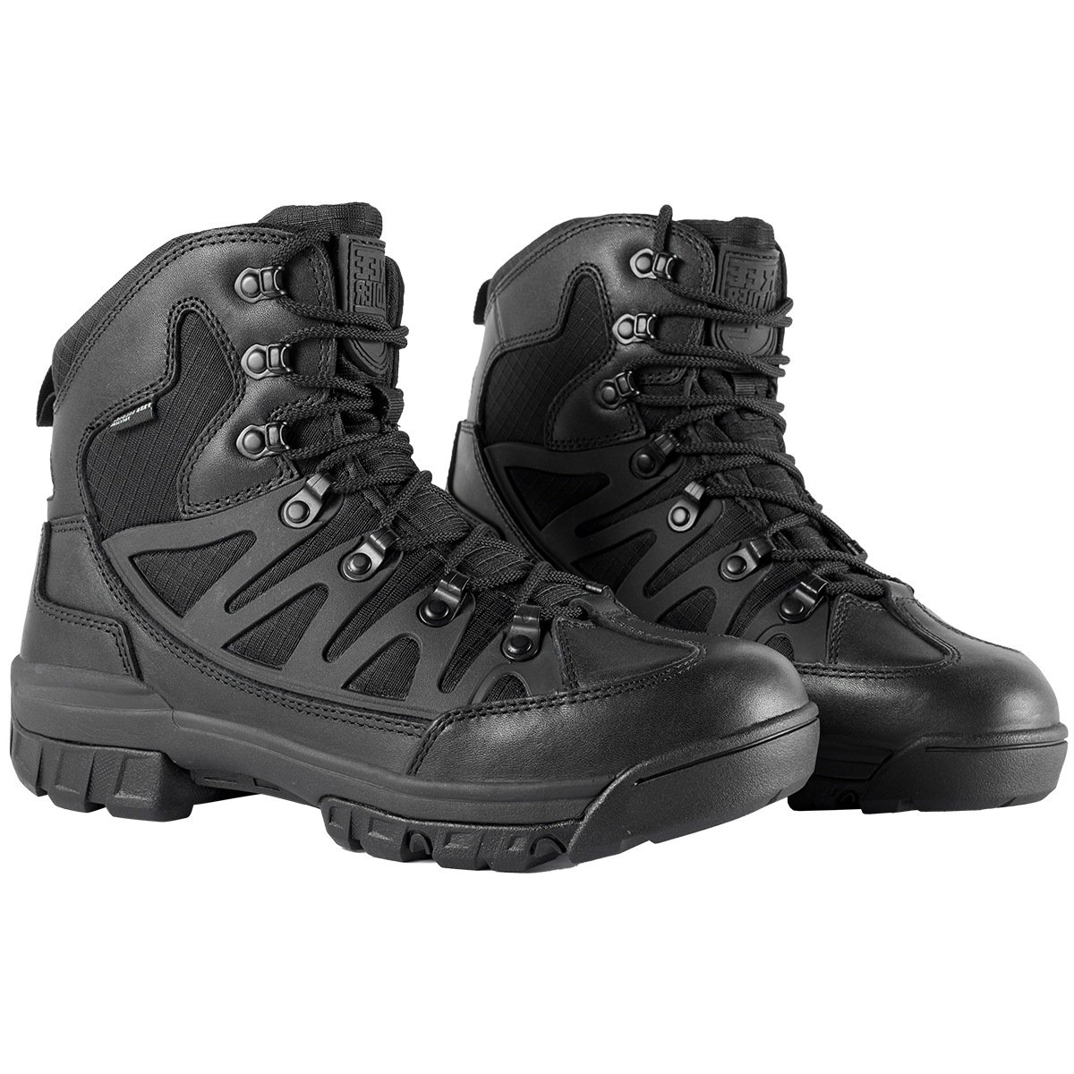 Free SoldierメンズTactical Boots Mid High Riseハイキング靴冬レザーブーツ B076H2JCS2 8 US|Black + Leather Black + Leather 8 US
