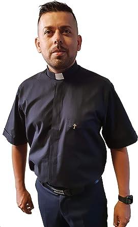 ANCORA INDUMENTA Camisa Sacerdote Clergyman - Manga Corta 100% Algodon: Amazon.es: Ropa y accesorios