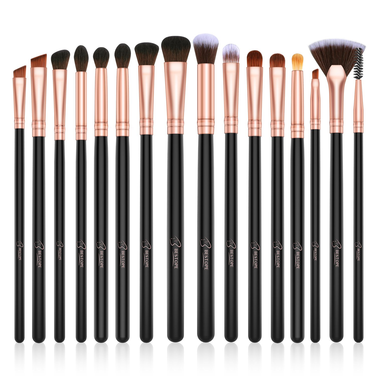 BESTOPE Eye Makeup Brushes Set, 16 Pieces Professional Cosmetics Brush, Eye Shadow, Concealer, Eyebrow, Foundation, Powder Liquid Cream Blending Brushes Set with Premium Wooden Handles Ltd.