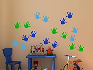 Wall Decor Plus More WDPM3566 Handprint Vinyl Wall Decals Sticker, Great for Classroom, Daycares and Preschool, Ice Blue/Traffic Blue/Lime Green, 18 Piece