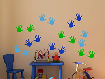Wall Decor Plus More WDPM3566 Handprint Vinyl Wall Decals Sticker, Great  for Classroom, Daycares and Preschool, Ice Blue/Traffic Blue/Lime Green, 18