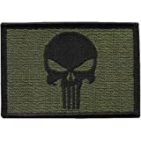 Punisher Skull Olive Green Tactical Military Morale Patch Iron On Biker Vest Patch Taktishe Motorrad Aufnäher Von Titan One Europe