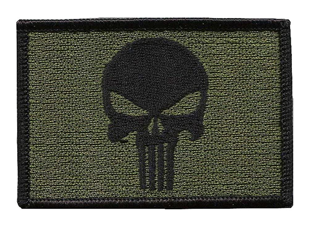 Punisher oliv Bestickt Airsoft Klett-Patch