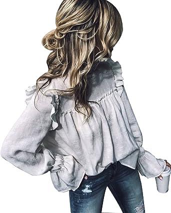 Mujeres Vintage Victorian Pull Over Trompeta Manga Suelta Top Cuello Alto con Volantes Volantes Blusa Camisa: Amazon.es: Ropa y accesorios
