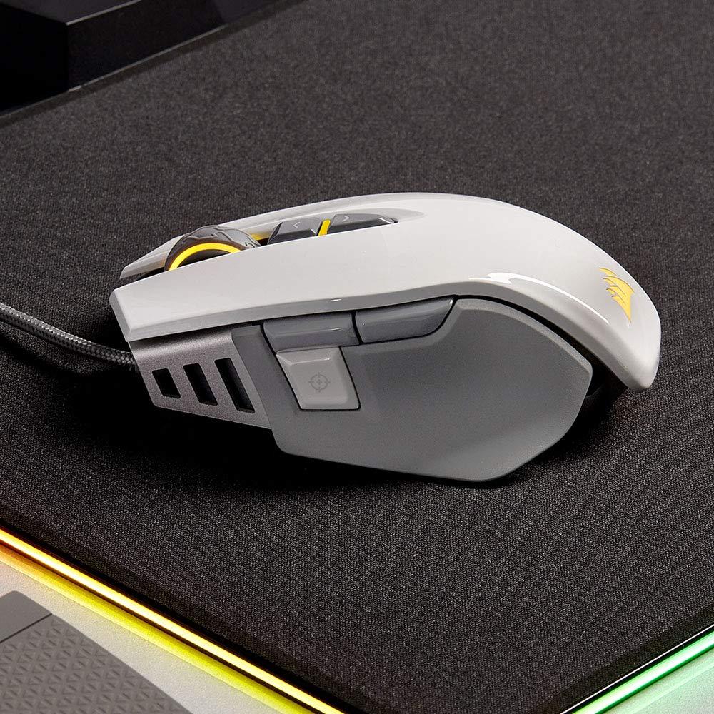 Corsair M65 Elite RGB Óptico FPS - Ratón para Juegos (18 000 PPP Óptico Sensor, Retroiluminación RGB LED, Sistema de Peso Ajustable) Color Blanco: ...