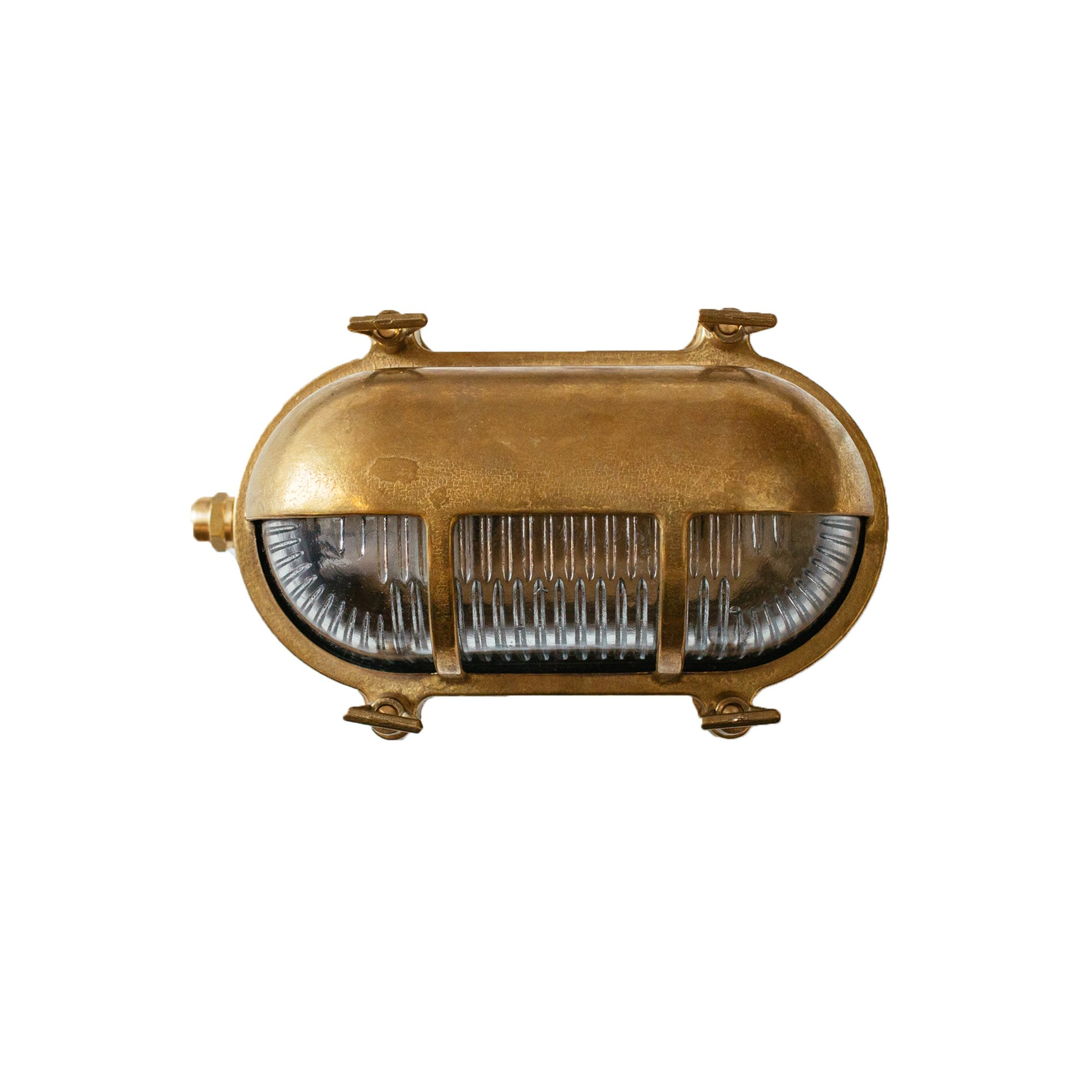 Cocoweb Renmark Nautical Bulkhead Wall Sconce | LED Light Bulb Included | Ribbed Glass Vintage Brass Cage by Cocoweb