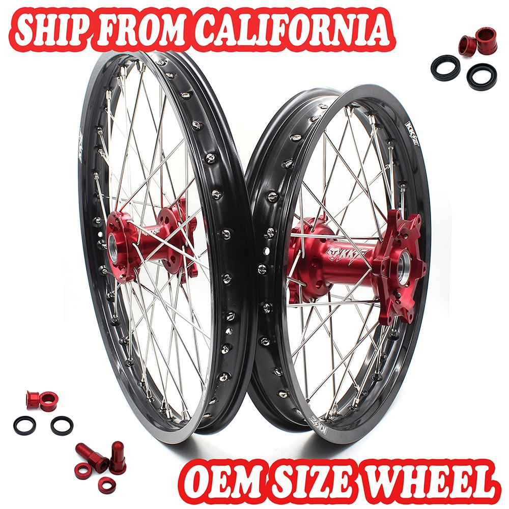 KKE Honda Enduro CNC Wheels Rims Set Kit 21/18 CR125R CR250R 19996-1999 CR500R 1996-2001 Red Hub
