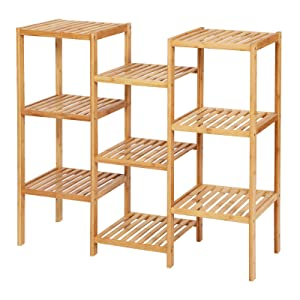 SONGMICS Bamboo Customizable Plant Stand Shelf Flower Pots Holder Display Rack Utility Shelf Bathroom Rack Storage Rack Shelving Unit Natural UBCB93Y