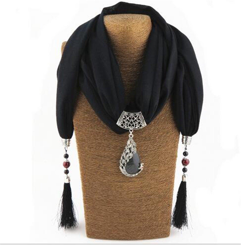 Better Annie Silk Scarf Necklace Peacock Pendant Neckerchief Scarves Women Fringe Tassel Necklaces Muffler New Statement Jewelry Bijoux black
