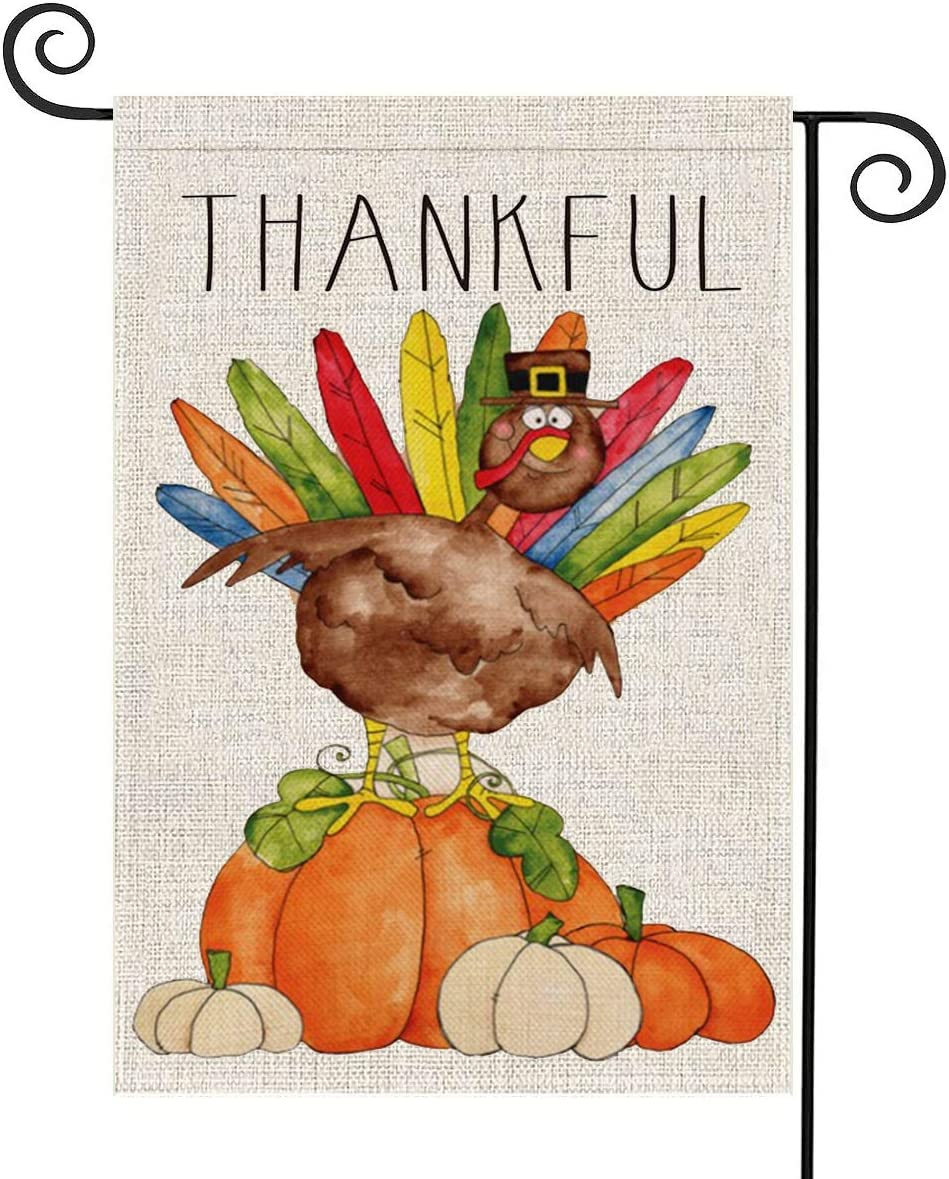 FUNNISM Thanksgiving Fall Rustic Harvest Vertical Garden Flag,Thankful Watercolor Turkey Pumpkin Garden Burlap Banner Double-sided,Garden,Porch,Home,Farmhouse,Yard Outdoor Fall Decoration 12.5x18Inch