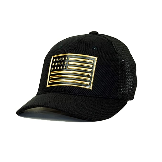 dadab82291a16 Premium USA Flag 3D Patch Embroidery Flex Fit Hat America Patriotic  Baseball Cap (Black