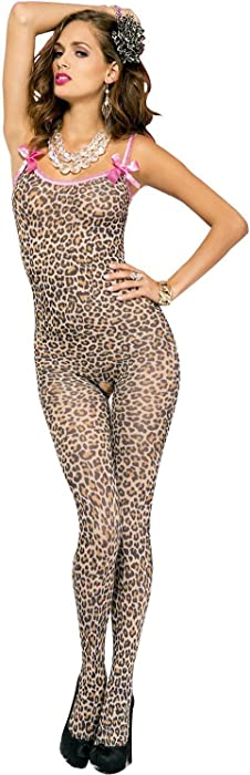 3249d3b65a7 Amazon.com  Be Wicked Women s Leopard Print Crotchless Bodystocking ...