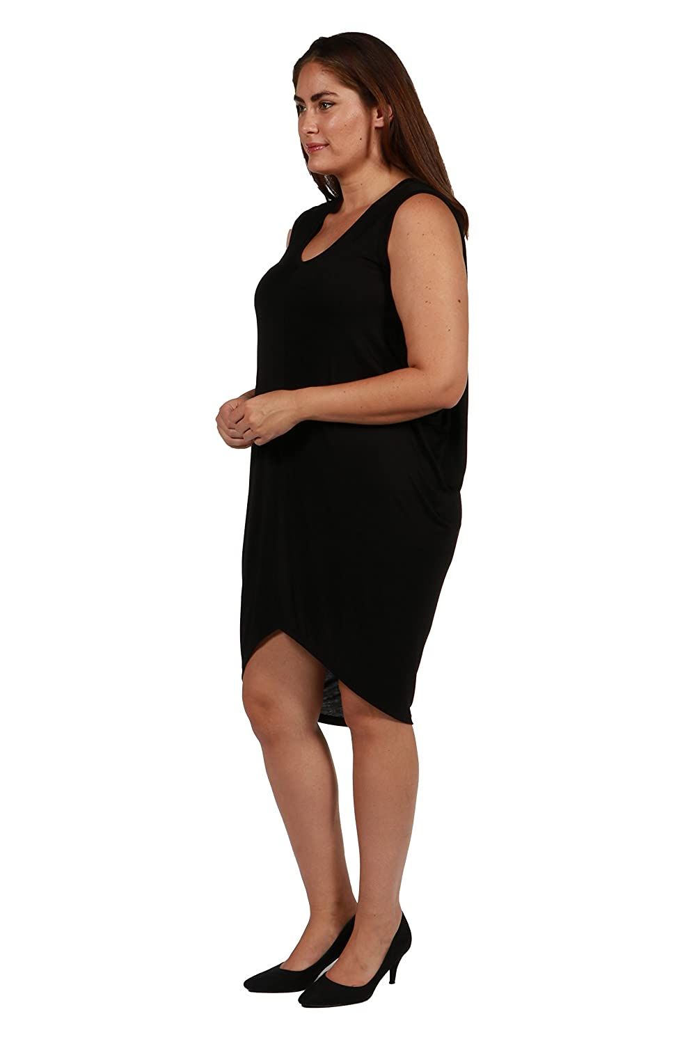 62565f64b82 24 7 Comfort Apparel Plus Size Dresses Black Hi Lo Sleeveless for Womens -   Made in USA  at Amazon Women s Clothing store