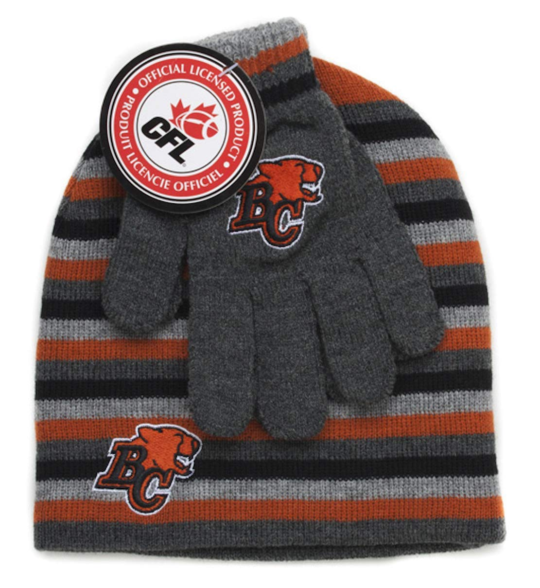 CFL BC Lions Boys Hat and Gloves Set Size 4-6x Gertex