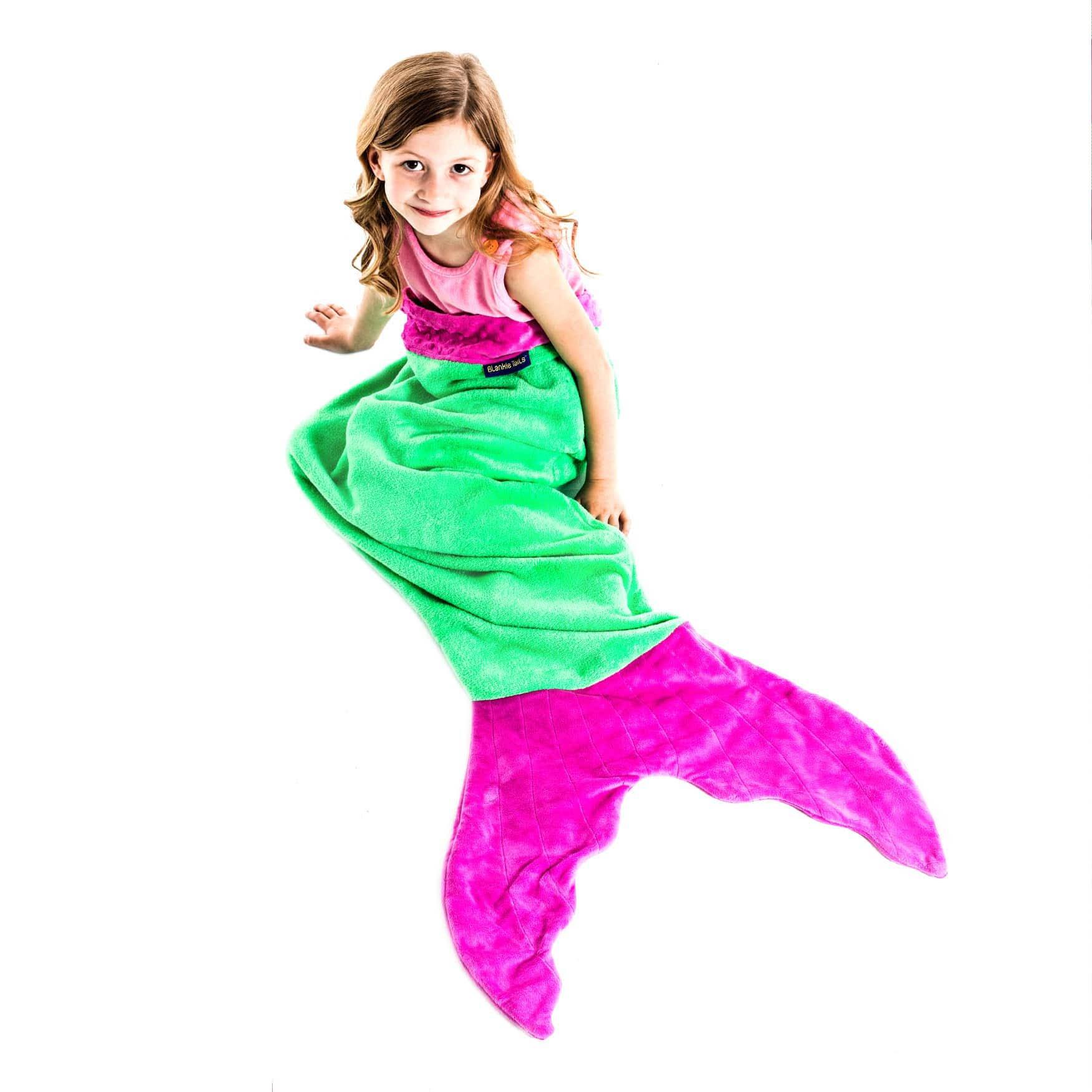 The Original Blankie Tails Mermaid Tail Blanket (Youth Size), Green/Pink