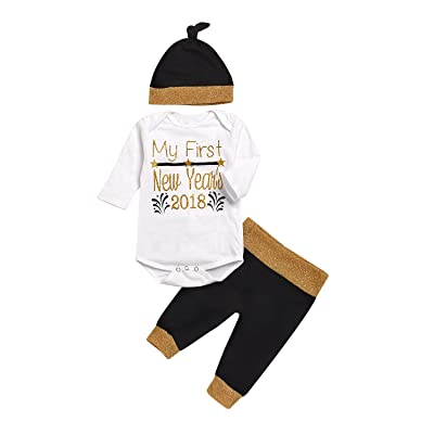 e5438daf33f9f MILWAY Baby Boy Girl Clothes My 1st First New Year's 2018 Romper Tops +  Black Pant + Hat 3pcs Outfits Set