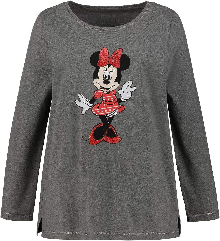 Ulla Popken Damen Langarm Minnie Mouse A-Linie T-Shirt