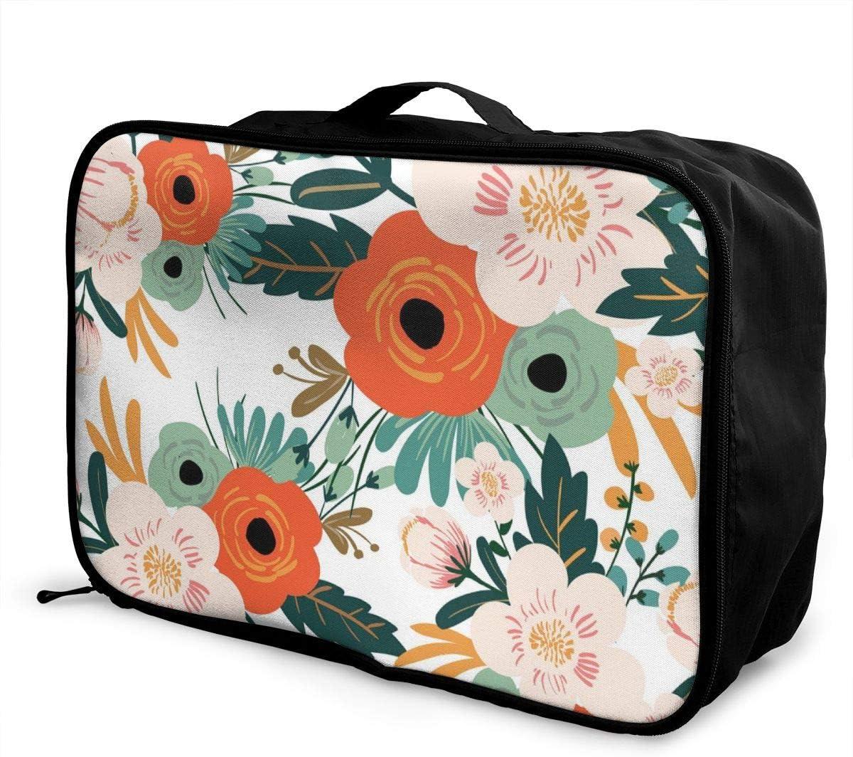 Yunshm Flower Seamless Pattern Vintage Style Vector Image Customized Trolley Handbag Waterproof Unisex Large Capacity For Business Travel Storage