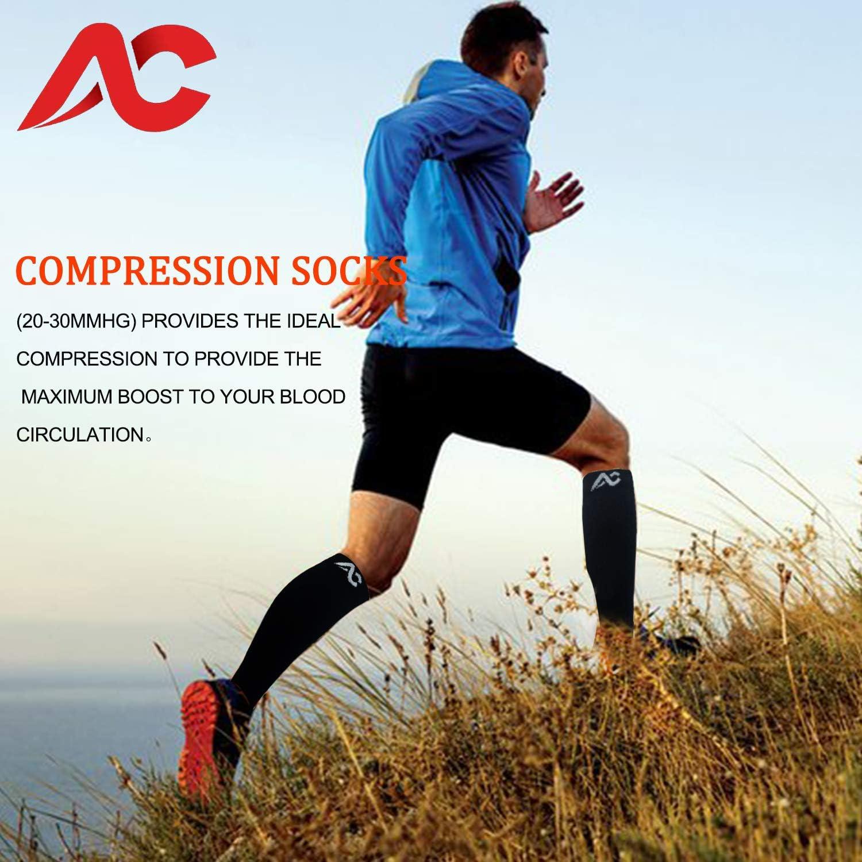Running Marathon Men 12-14+,Black//Blue Diabetic ACTINPUT Compression Socks Men 20-30 mmHg 1 Pair,Medical/&Althetic Nursing Performance Socks for Edema