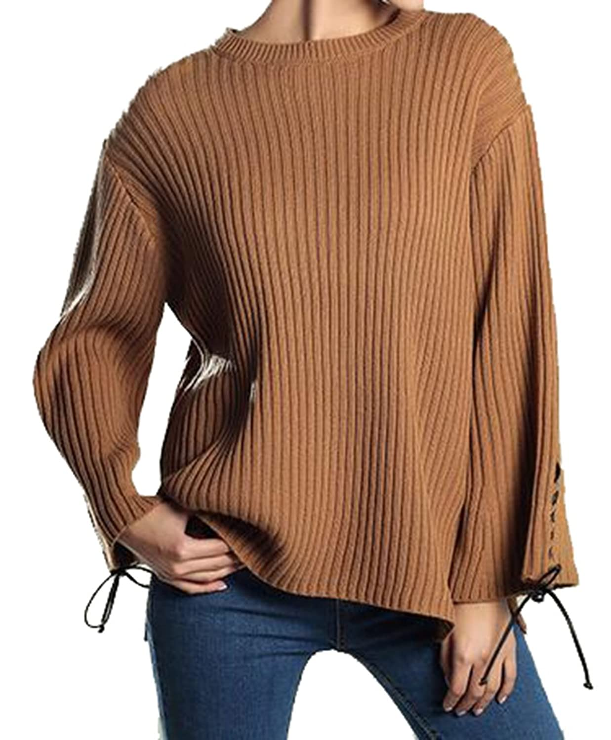 ARRIVE GUIDE Womens Casual Knitted Flare Sleeve Solid Loose Sweater